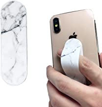 Phone Finger Grip Stand Car Vent Holder 3 in 1 Phone Bracket Smart Band Compatible with iPhone Xs Max XR 8 7 Plus Samsung Galaxy Smartphones (White Marble)