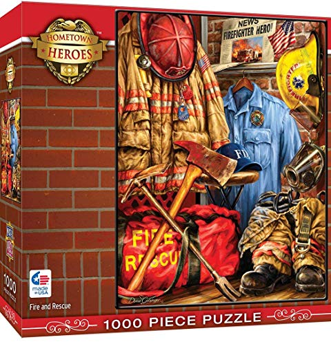 MasterPieces Hometown Heros Jigsaw Puzzle Fire & Rescue, Featuring Art by Dona Gelsinger, 1000Piece