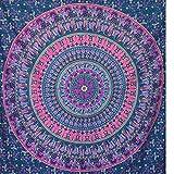momomus Wandteppich Mandala - Indisch - 100prozent Baumwolle, Groß, Mehrzweck - Bettüberwurf/Sofaüberwurf und Überwurf für Sofa/Couch & Bett - Tagesdecke, Lila A, 210 x230 cm