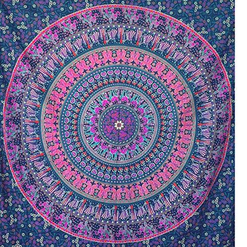 momomus Tapiz Mandala Indio - 100% Algodón, Grande, Multiuso - Colcha / Foulard / Tela Ideal como Cubre Sofá o Cubrecamas - Lila A, 210x230 cm