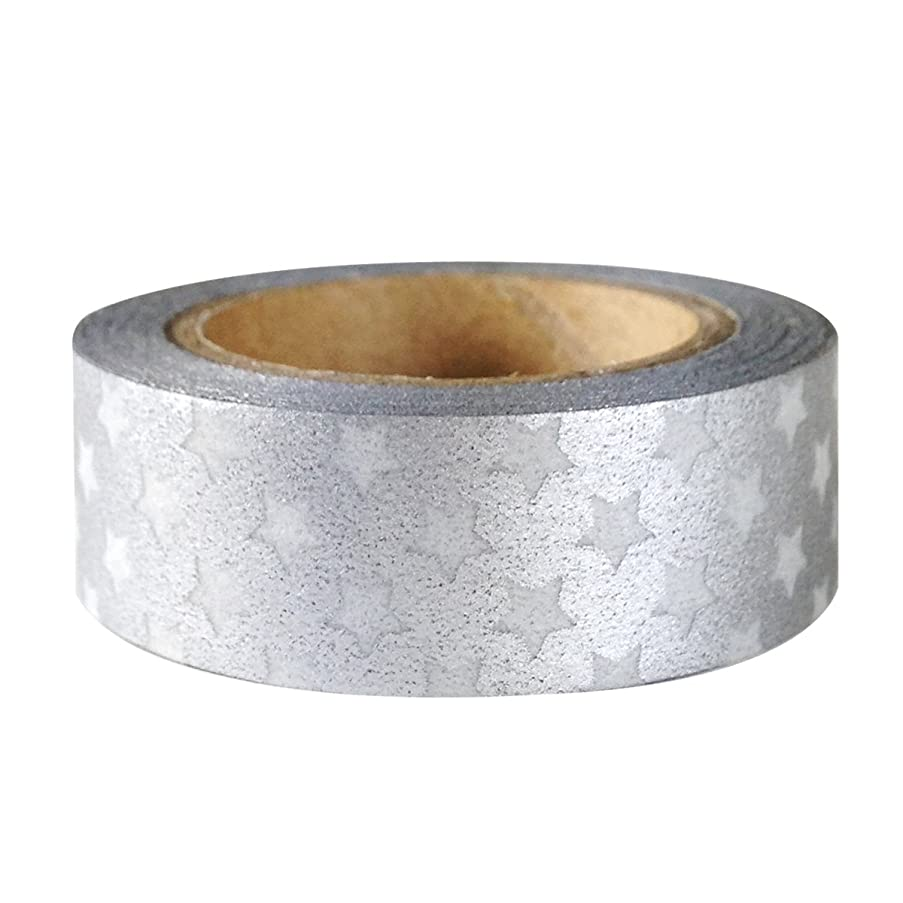 AllyDrew Colorful Patterns Japanese Washi Masking Tape - Silver Stars