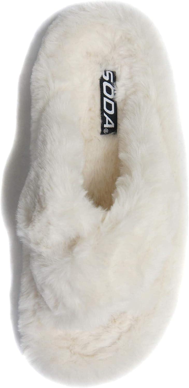 Soda Women Slip-on Soft Fur Fuzzy Fluffy Sandals Slide Slippers Flip Flops Crisscrossed Band Engage-S
