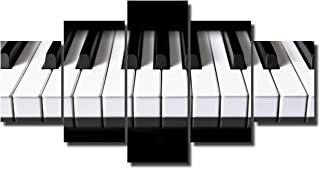 5 Piece Canvas Wall Art Black and White Paintings Piano Keyb