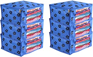 PrettyKrafts Saree Cover Set of 6 Large Flower Prints/Wardrobe Organiser/Clothes Bag_Blue