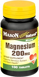 Mason Natural Magnesium 200 Mg Dietary Supplement 100 Tablets