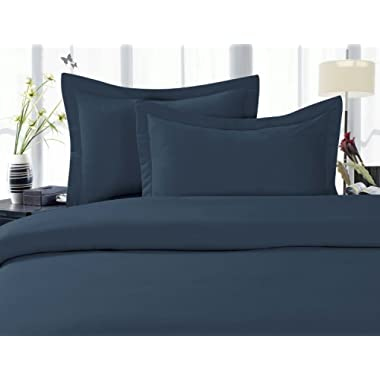 Elegant Comfort 1500 Thread Count Wrinkle,Fade and Stain Resistant 4-Piece Bed Sheet Set, Deep Pocket, Hypoallergenic - Queen Navy Blue