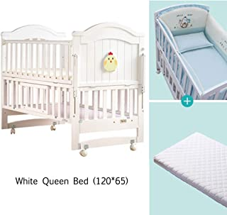 YQZ Wooden Baby Cot Bed Multifunctional Children s Newborn Stitching Large Bed Solid Wood without Paint Bed  120 65