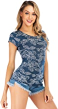 ファッションプリントラウンドネックの女性の半袖、花柄、スタイリッシュで快適な、シンプルで通気性のある、スリムフィット,S