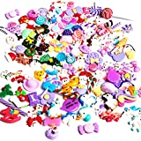 Angshop - Juego de 120 abalorios de unicornio y dulces de Navidad, resina plana, cuentas de adelgazamiento mixtas para adornos, álbumes de recortes, manualidades