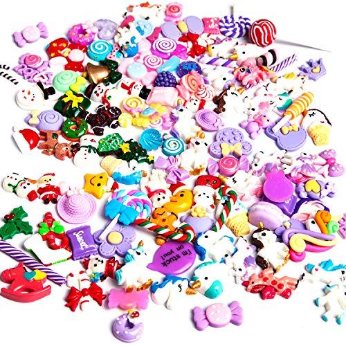 Angshop - set di 120ciondoli adorabili assortiti in resina a forma di unicorno, caramella, dolci, soggetti natalizi con retro piatto per decorazione, lavoretti fai da te