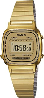 CASIO Women's Classic Vintage Quartz Watch with Stainless Steel Strap, Gold, 10 (Model: LA670WGA-9)