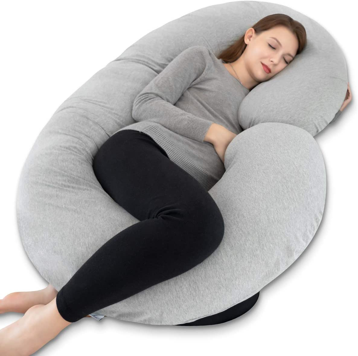 INSEN Pregnancy Pillow, Maternity Body Pillow for Pregnant Women,C Shaped Pillow with Jersey Body Pillow Cover