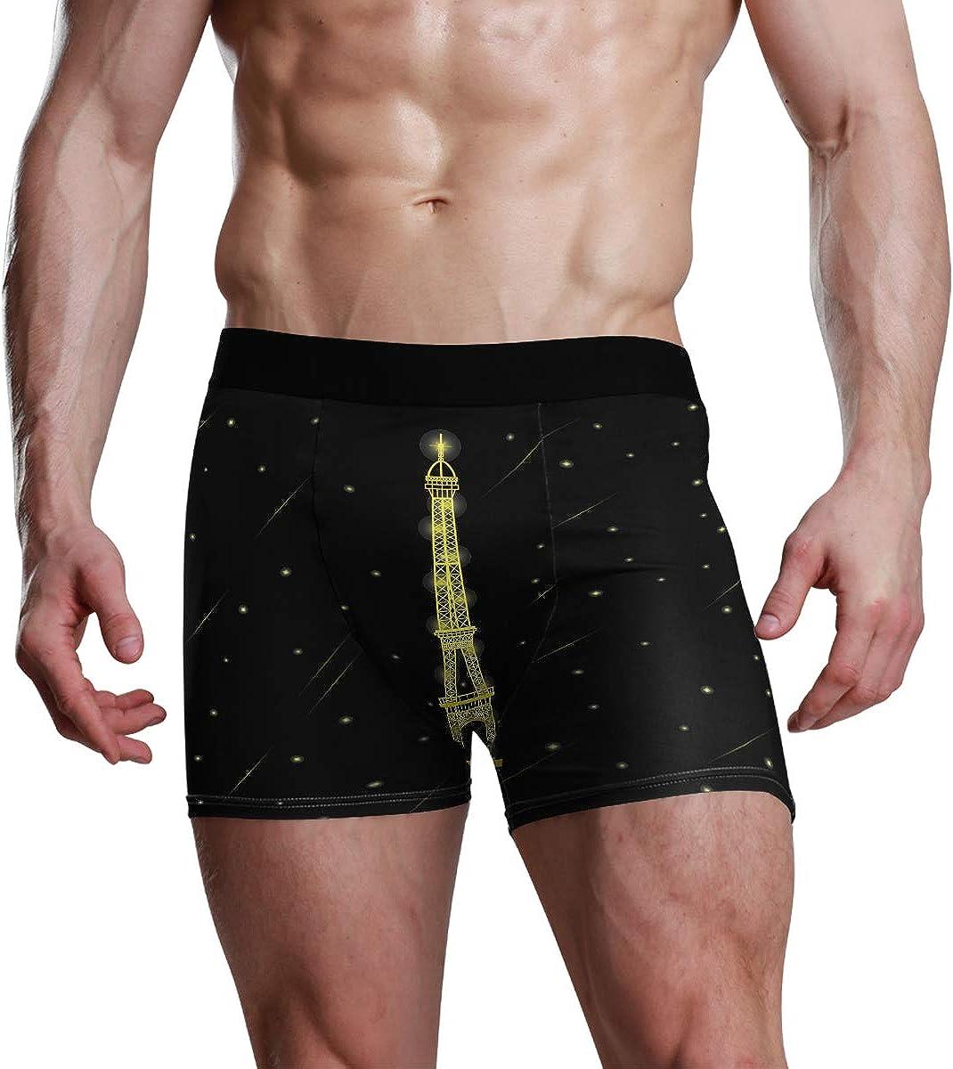 Mens Boxer Briefs Eiffel Light Up at Night and The Stars Falling Around Bikini Underwear Stretch Trunks Boys Underpants