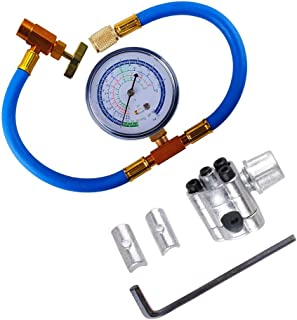 BPV31 Piercing Valve for Bullet with R134a Charging Hose, Refrigerant Can Tap with Gauge R134a can to R-12/R-22 port