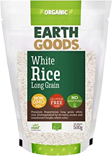 Earth Goods Organic Long Grain White Rice, NON-GMO, Gluten-Free, No Additives 500g