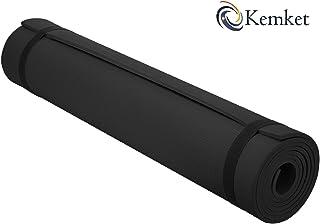 Esterilla Kemket antideslizante para ejercicios, fitness o yoga, 10 y 15 mm de alta densidad, antirroturas, con correa de transporte
