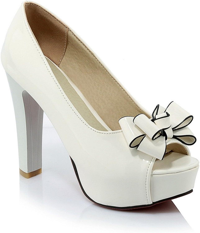 Lucksender Womens Peep Toe High Heel Platform Pumps shoes with Bowknot