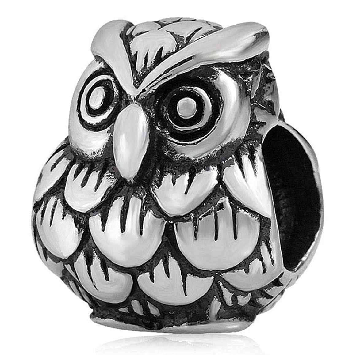 Beautiful Sterling Silver Owl King Charm Wisdom Animal Bead fit All Charm Bracelet for Women Girls Mother's Gifts EC164