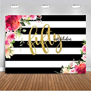 Mehofoto Fifty and Fabulous Backdrop Flower Stripes 50th Birthday Photography Background 7x5ft Vinyl Women 50th Birthday Party Banner Backdrops