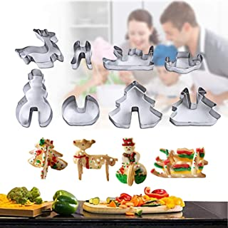 8 Pcs Stainless Steel Christmas Cookie Cutters 3D Christmas Tree Snowman Sled Elk Cracker Biscuit Molds Set Kitchen Tool for Baking