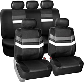 FH Group PU006115 Varsity Spirit PU Leather Seat Covers, Airbag & Split Ready, Gray/Black Color