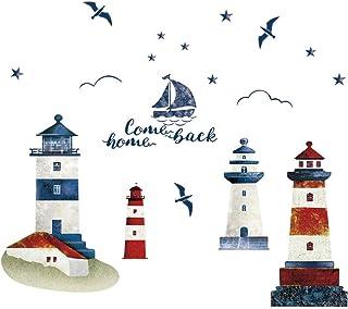 decalmile Stickers Muraux Phare Mouette Voilier Autocollant Mural Salon Chambre Decoration Murale