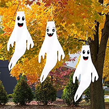 43  Halloween Ghost Windsocks Hanging Decorations - Flag Wind Socks for Home Yard Outdoor Decor Party Supplies  3 Pieces
