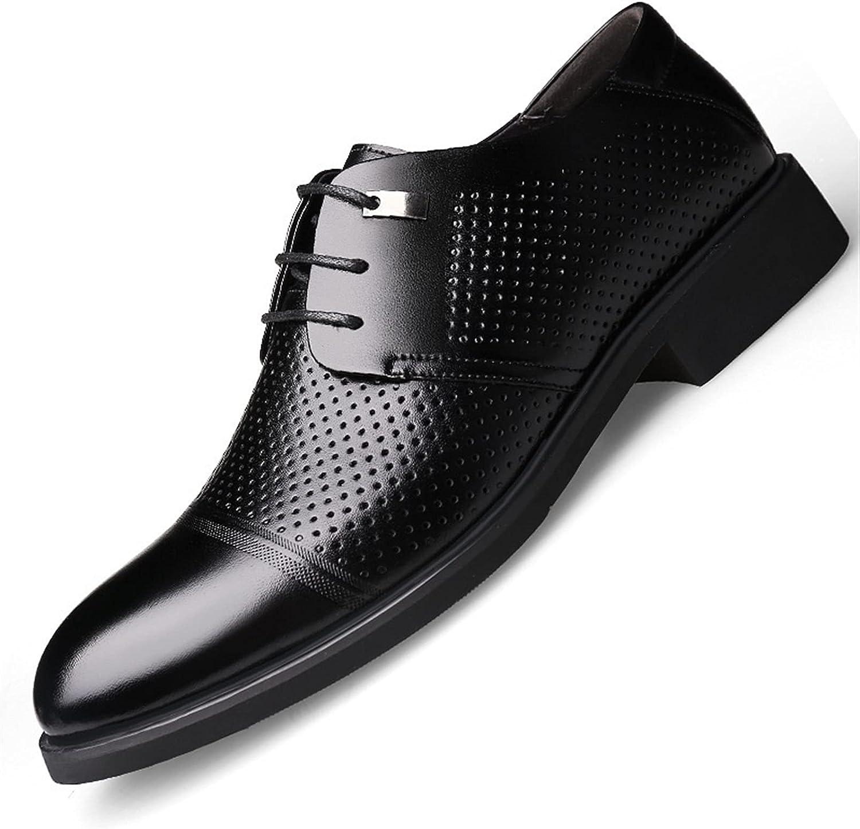 Men's Vegan Leather Oxfords Pull Tap Block Heel Lace Up Style Cap Toe Shoe Anti Skid Formal (Color : Hollow Black, Size : 47 EU)