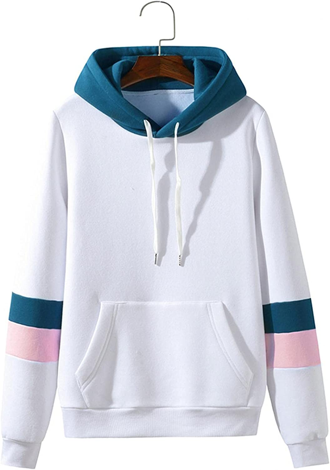 WoCoo Mens Hooded Sweatshirts Hipster Patchwork Drawstring Pullover for Unisex Casual Lightweight Hoodie Shirts