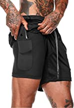 WATERILI Men's 2-in-1 Workout Running Shorts Lightweight Gym Yoga Training Sport Jogging Short Pants