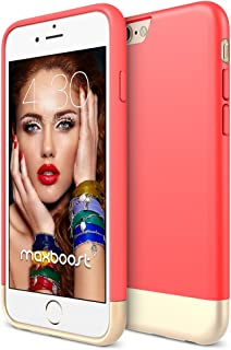 iPhone 6S Case - Maxboost [Vibrance S] iPhone 6 6S Case (4.7 Inch) Slider Style Protective Soft-Interior Scratch Protection Finished Hard Cover - Italian Rose/Champagne Gold