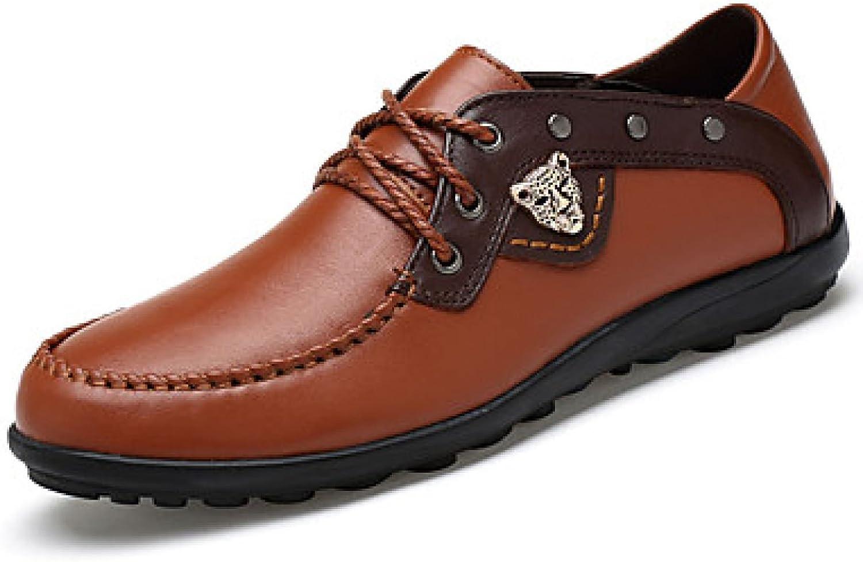 Men's Sneakers Spring Fall Comfort Cowhide Casual Flat Heel Black bluee Brown Walking