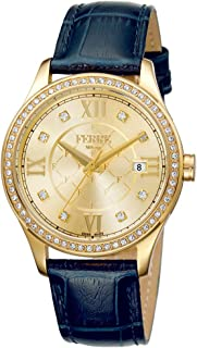 Ferre Milano Swiss Made Women's FM1L047L0021 Swiss Quartz Dark Blue Calfskin Leather Strap Watch