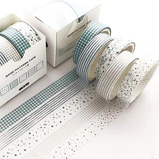 和風 パターン 和紙テープ 5巻 創造性 マスキングテープセット 女性のスタイル ワシテープ 包装、DIY工芸品 (緑露)