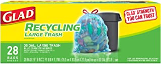 Glad Large Drawstring Recycling Bags - 30 Gallon Blue Trash Bag - 28 Count
