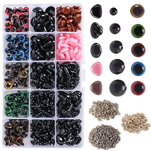 NAHUAA 560 Pcs Ojos y Narices de Seguridad de Plástico Ojos de Muñeca Coloridos y Arandela con Estuche Fuerte, para Animales Fabricación de Muñecas de Oso de Peluche de Manualidades