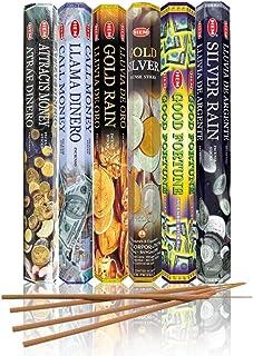 مجموعه / مجموعه ای از رایحه های نقاشی HEM - جذب پول ، پول فراخوانی ، باران طلا ، نقره طلا ، Good Fortune و نقره باران - شش لوله 20 استیک ، 120 میله کل