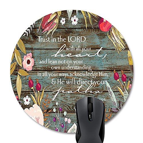 Wknoon Bible Verses Scripture Quotes Proverbs 3-5 Round Mouse Pad, Trust in The Lord with All Your Heart Mouse Pads Vintage Old Floral Wood Design Mat