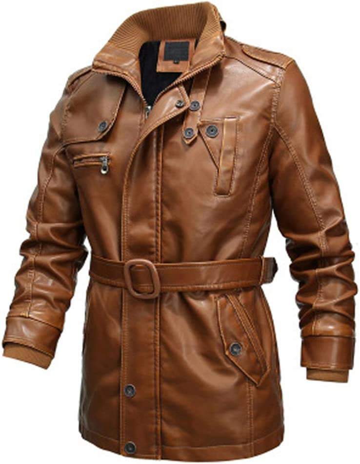 Hzikk Leather Jacket Mens Max 89% OFF Long PU F Motorcycle Windbreaker Dealing full price reduction Men's