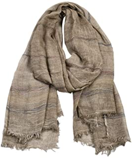 Kangqifen Men's Striped Scarf Cotton Linen Solid Scarfs 75 x 35 inches