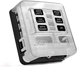 MICTUNING 6 Way Fuse Box Holder Block - Blade Fuse Box with LED Indicator Durable Protection Cover with Sticker Lable for Marine SUV Bus Subway Car Boat Automotive