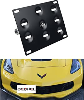 Extreme Online Store Replacement for 2014-Present Chevrolet Corvette C7 All Models EOS Plate Full Sized Version 2 Front Bumper Tow Hook License Plate Relocator Mount Bracket