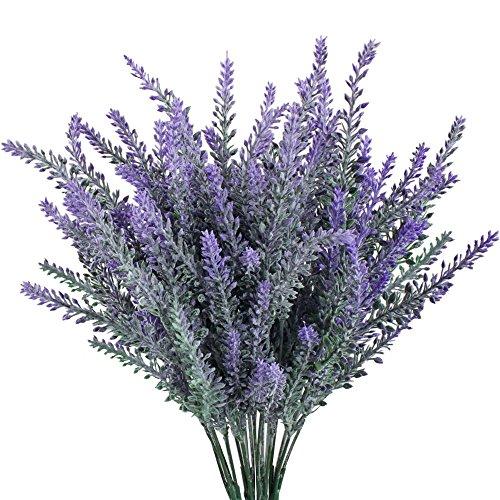 Turelifes Beflockter künstlicher Lavendel blüht Blumenstrauß (4 Stück) Dunkelviolett