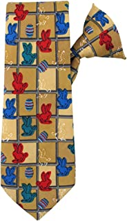 Boys' Easter Bunnies and Eggs Grid 14 inch. Clip-On Neck Tie - Tan