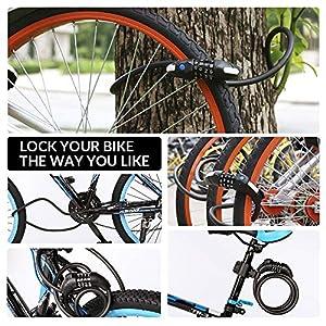 Candado de Bicicleta, MTB Seguridad Candado de Cable Mejor Combinación con Flexible Montaje Cable Bloqueo antirrobo Alta Seguridad para la Bicicleta al Aire Libre 150cm X12mm