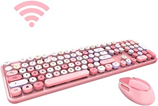 Grapefruit - Wireless Keyboard and Mouse Combo, Sweet Mixed Color Cute Keyboard, 2.4G USB Ergonomic Keyboard and Mouse Combo for Computer, Laptop, PC Desktops, mac (Pink Mixed Style Keyboard + Mouse)