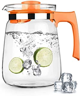 1.5L/2L Glass Water Carafe Ice Tea Pitcher Cold and Hot Water Carafe Water Bottle Coffee Pot Beverage Pitcher for Homemade...