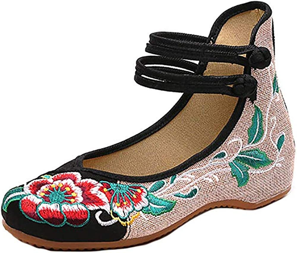 BININBOX Women Chinese Embroidered Flower Flat Bridal Bombing free shipping Max 74% OFF Mary Jane