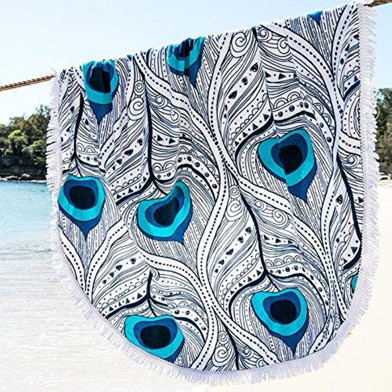 Beach Towel Tassel Round Beach Towel Shawl blueee for Kids & Adults