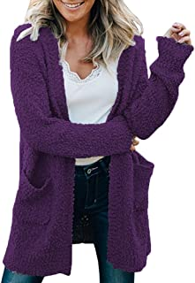 OHDREAM Womens Plus Size Popcorn Cardigan Sweaters Fuzzy Sherpa Fleece Jackets Coats Open Front Pockets